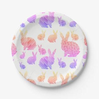 Rainbow Rabbits Paper Plate