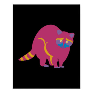 Rainbow Raccoon Poster