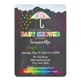 Rainbow Raindrops Twin Baby Shower Invitation