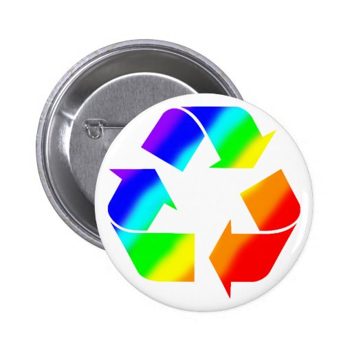 Rainbow Recycle Sign Pinback Buttons