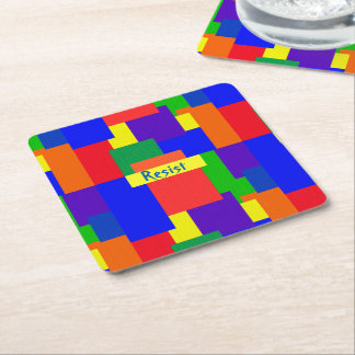 Rainbow Resist Patchwork Quilt Design Coasters
