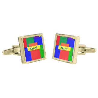 Rainbow Resist Patchwork Quilt Design Cufflinks Gold Finish Cufflinks