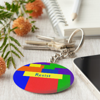 Rainbow Resist Patchwork Quilt Design Keychain