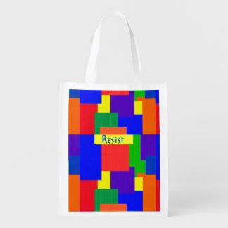Rainbow Resist Patchwork Quilt Design Reusable Grocery Bag