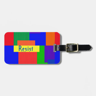 Rainbow Resist Patchwork Quilt Luggage Tag