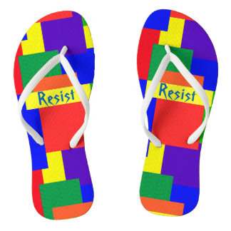 Rainbow Resist Textured Quilt Design Flip Flops