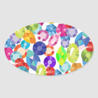 rainbow rhinestones oval sticker