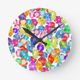 rainbow rhinestones round clock