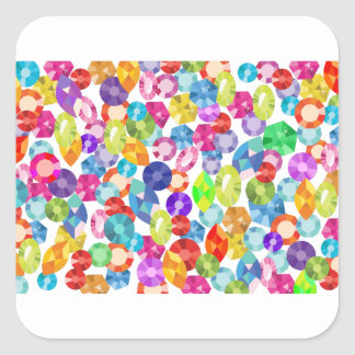 rainbow rhinestones square sticker