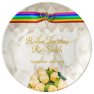 Rainbow Ribbon Double Hearts 12C - Porcelain Plate