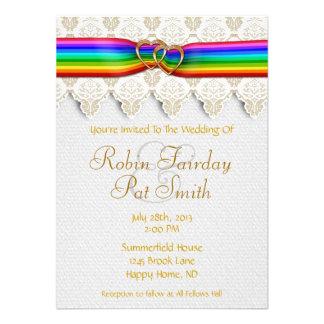 Rainbow Ribbon Double Hearts Wedding Invitation 1