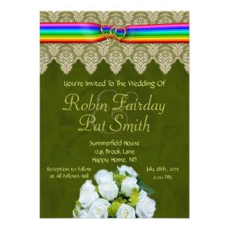 Rainbow Ribbon Double Hearts Wedding Invitation 12