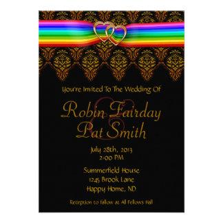 Rainbow Ribbon Double Hearts Wedding Invitation 3