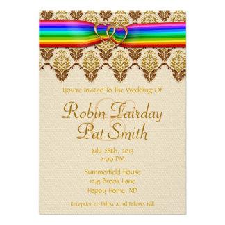 Rainbow Ribbon Double Hearts Wedding Invitation 4