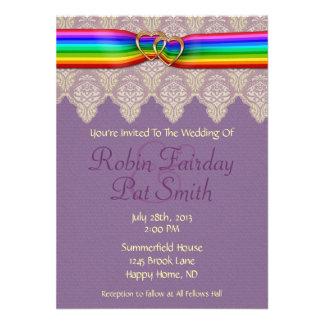 Rainbow Ribbon Double Hearts Wedding Invitation 7