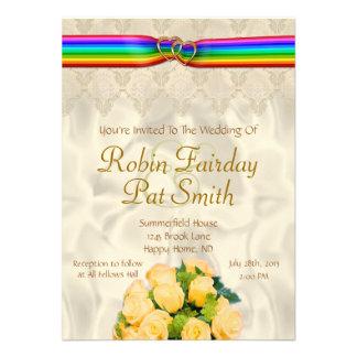 Rainbow Ribbon Double Hearts Wedding Invite 12C