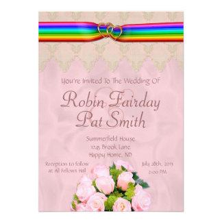 Rainbow Ribbon Double Hearts Wedding Invite 15C