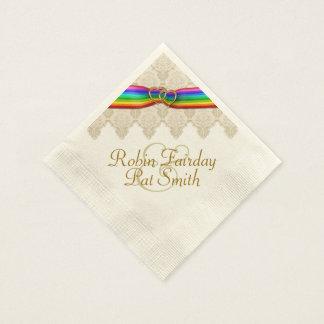 Rainbow Ribbon Double Hearts Wedding Napkin 12C Paper Napkin