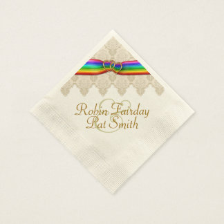 Rainbow Ribbon Double Hearts Wedding Napkin 12C Paper Napkins