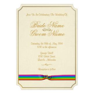 Rainbow Ribbon Hearts Classic 1 - Wedding Invite Custom Invitation