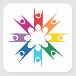 Rainbow Ring of Humanists Square Sticker