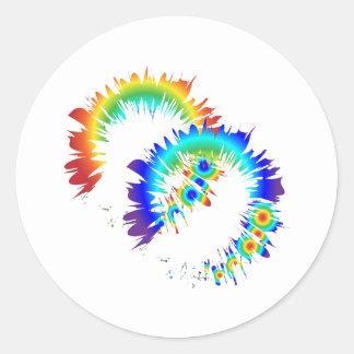 rainbow rings classic round sticker