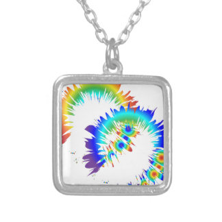rainbow rings silver plated necklace