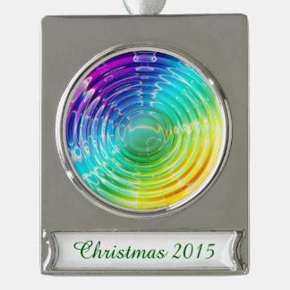 Rainbow Ripples Silver Plated Banner Ornament