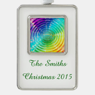 Rainbow Ripples Silver Plated Framed Ornament