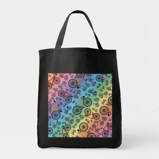 Rainbow road bikes tote bag