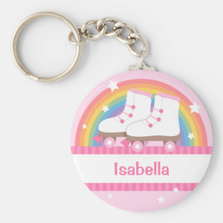 Rainbow Roller Skates For Girls Basic Round Button Key Ring