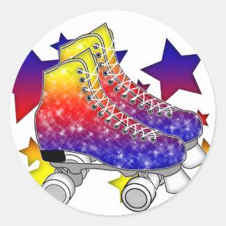 Rainbow Rollerskates Round Stickers