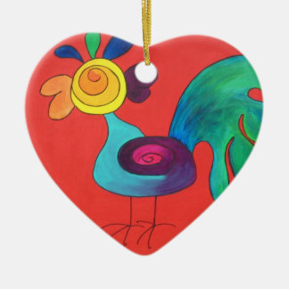 Rainbow Rooster Double-Sided Heart Ceramic Christmas Ornament