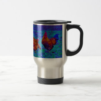 Rainbow Rooster & Hens, Electric Blue Travel Mug