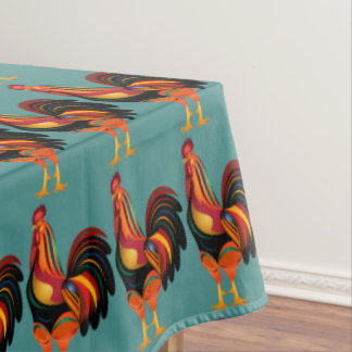 Rainbow Roosters Tablecloth