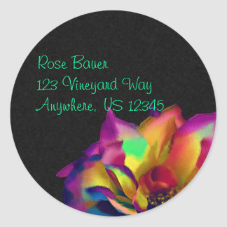 Rainbow Rose Blossom Envelope Seal Round Sticker