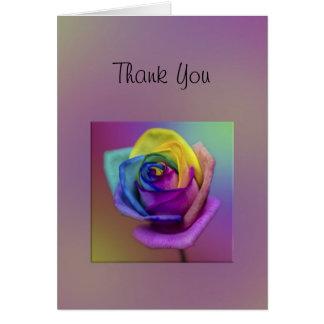 Rainbow Rose Flower Thank You Card