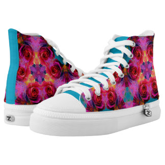 Rainbow Rose Kaleidoscope High Tops Printed Shoes