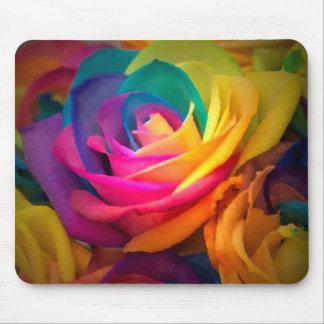 Rainbow rose mouse mat
