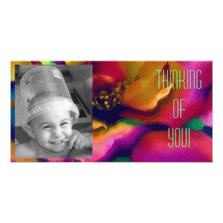 Rainbow Rose Custom Photo Card