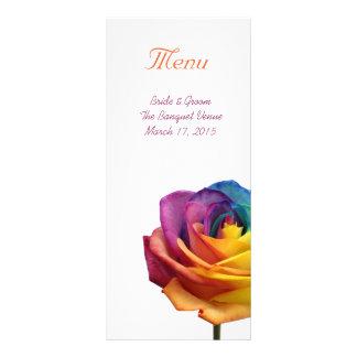 Rainbow Rose Wedding Menu Rack Card