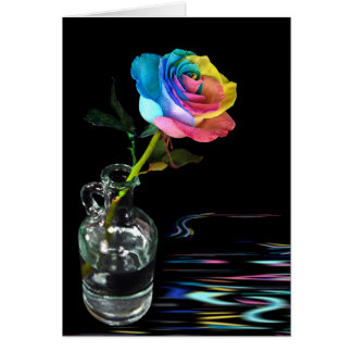 Rainbow Rose with water reflection Card