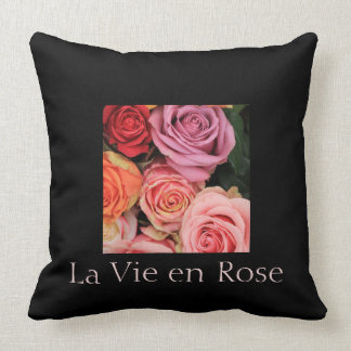 """rainbow roses"" ""la vie en rose"" by Therosegarden Throw Cushion"