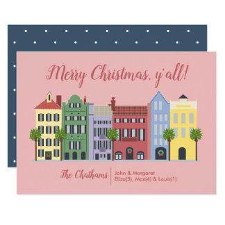 Rainbow Row Charleston SC Christmas Card