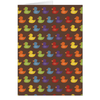 Rainbow | Rubber Ducks | All over Pattern on brown Card