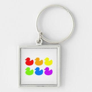 Rainbow Rubber Ducks Silver-Colored Square Key Ring