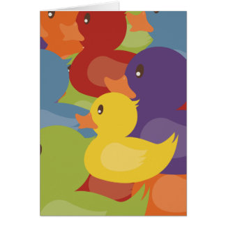 Rainbow | Rubber Ducks | overlapping design Card