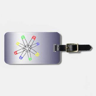 Rainbow Safety Pin Solidarity Blue Yellow Green Luggage Tag