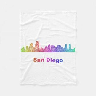 Rainbow San Diego skyline Fleece Blanket