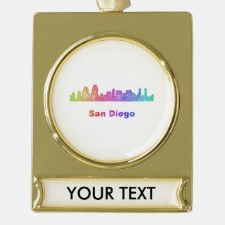 Rainbow San Diego skyline Gold Plated Banner Ornament